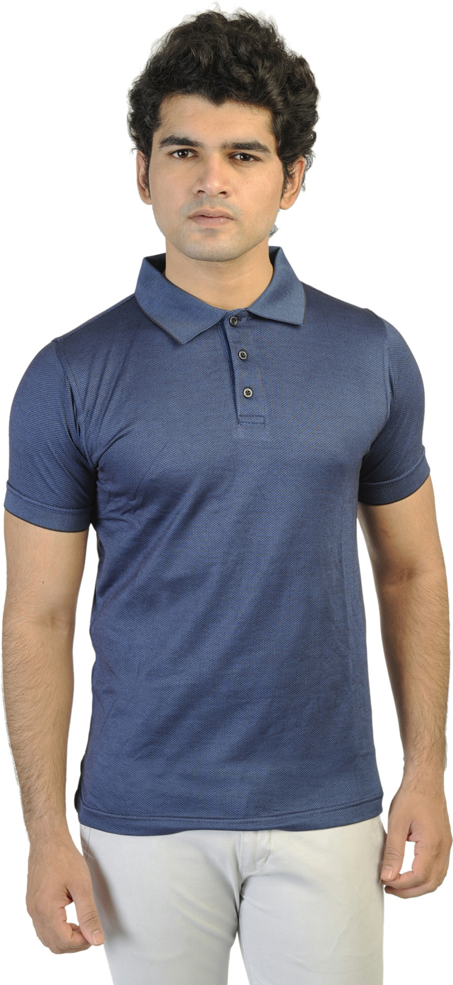 T10 Sports Printed Mens Polo Neck Blue T-Shirt