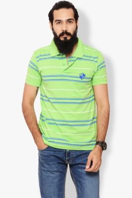 Italian Polo Striped Men's Polo Neck Green T-Shirt