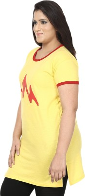JSR Printed Women's Round Neck Yellow, Red T-Shirt