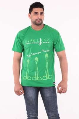 Stylobby Graphic Print Mens Round Neck Green T-Shirt
