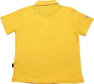 Blue Giraffe Printed Boy's Polo Neck Yellow T-Shirt