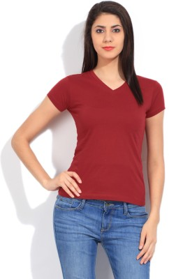 STYLE QUOTIENT BY NOI Solid Women's V-neck Red T-Shirt
