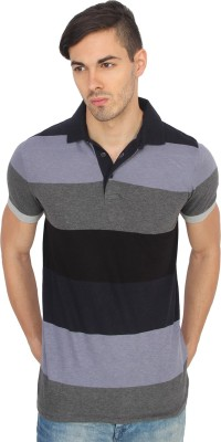 French Connection Striped Men's Polo Neck Maroon, Blue, Grey T-Shirt