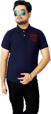 Parv Collections Solid Men's V-neck Black T-Shirt