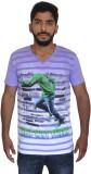 Uniqe Printed Men's V-neck Purple T-Shir...