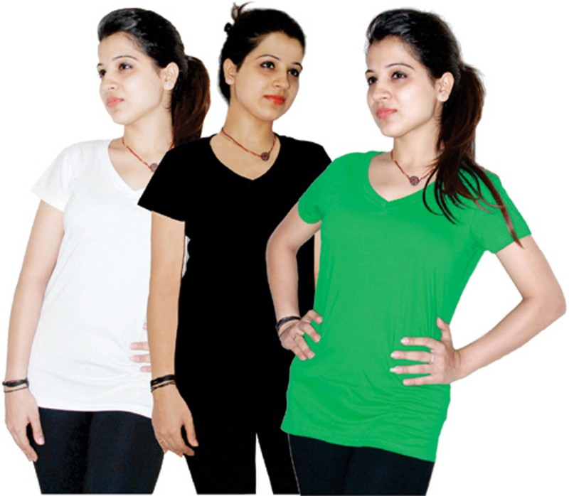 Xarans Solid Women's V-neck Green, White, Black T-Shirt(Pack of 3)