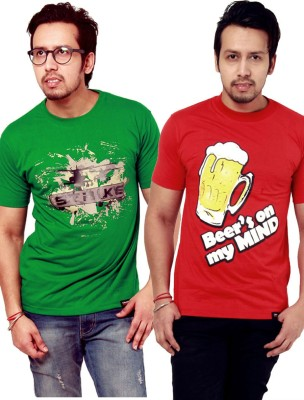 Crypticvoodoo Graphic Print Men's Round Neck Green, Red T-Shirt