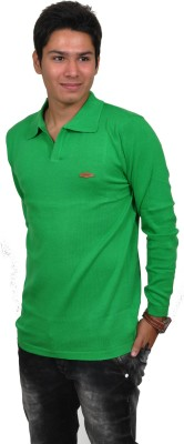 Blue 69 Solid Men's Polo Neck Green T-Shirt