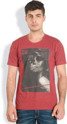 Locomotive Printed Men's Round Neck Red T-Shirt