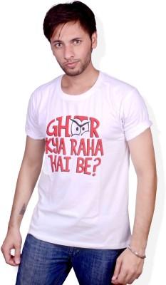 Swadesistuff Printed Men's Round Neck White, Red, Black T-Shirt