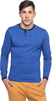 Pepperclub Solid Men's Henley Blue T-Shirt