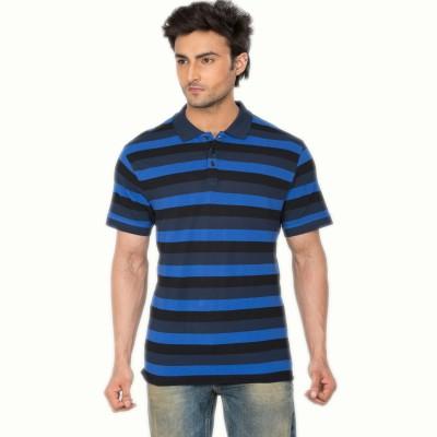 Hoodz Striped Men's Polo Blue T-Shirt