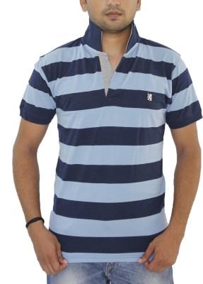 Grey Tree Striped Men,s Polo Neck Dark Blue T-Shirt