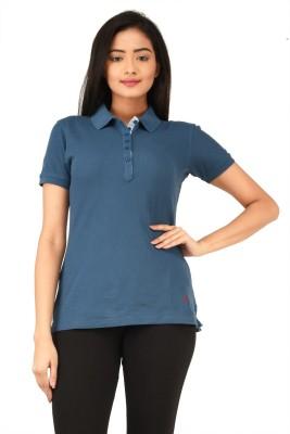 TSG Bliss Solid Women's Polo Neck Blue T-Shirt