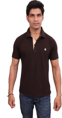 Leonardi Solid Men's Polo Neck Brown T-Shirt