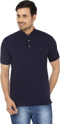 Wills Solid Men's Round Neck Blue T-Shirt