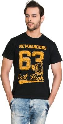 Zovi Printed Men's Round Neck Black T-Shirt