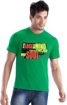Force Go Wear Graphic Print Men's Round Neck Green T-Shirt