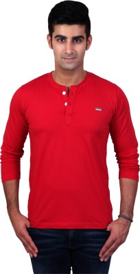 Bridge Solid Men's Henley Red T-Shirt