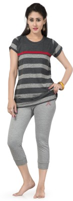 Prova Striped Women's Round Neck Grey T-Shirt