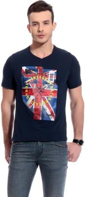 TAB91 Printed Men's Round Neck Dark Blue T-Shirt