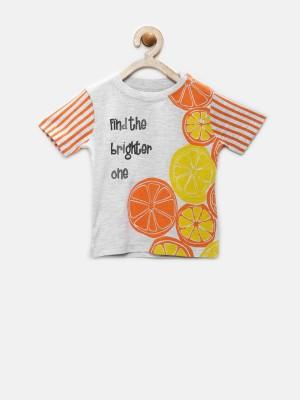 YK Printed Baby Boy's Round Neck Grey T-Shirt
