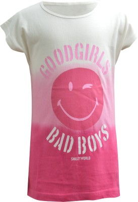 Blueriver Graphic Print Girl's Round Neck White, Pink T-Shirt