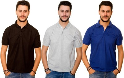 Skitt Clothing Co Solid Men's Polo Neck Black, Grey, Blue T-Shirt