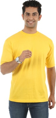 Fidato Solid Men's Round Neck Yellow T-Shirt