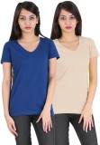 Avarnas Solid Women's V-neck Beige, Dark...