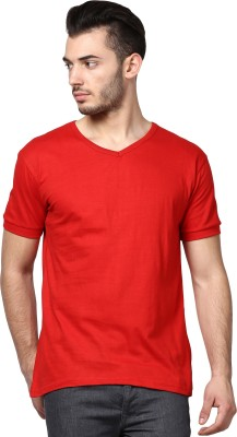 Inkovy Solid Men's V-neck Red T-Shirt