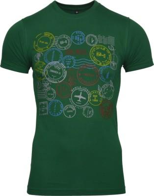 Avenster Graphic Print Men's Round Neck Green T-Shirt