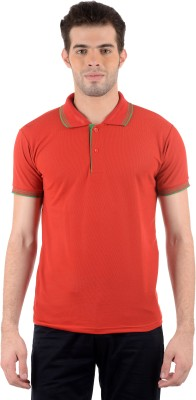 Gdivine Self Design Men's Polo Neck Red T-Shirt