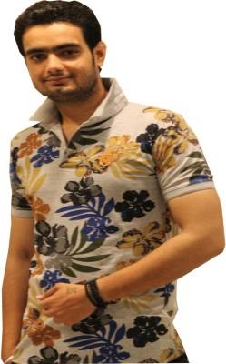 GOPAL EMPORIUM Printed Men's Mandarin Collar Grey T-Shirt