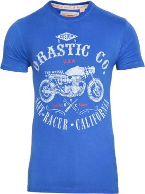 Drastic Printed Men's Round Neck Blue T-Shirt