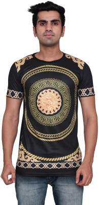 DDI Printed Men's Round Neck Black T-Shirt