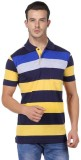 Jayis Striped Men's Polo Neck Yellow T-S...