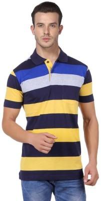 JAYIS Striped Men's Polo Neck Yellow T-Shirt