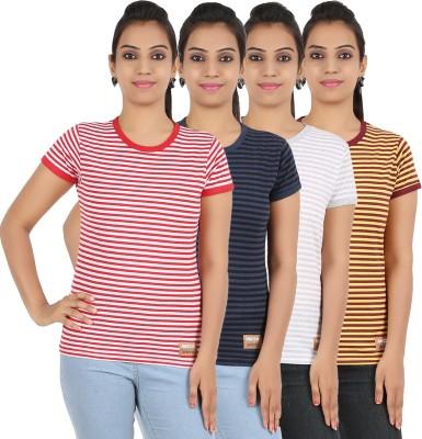 Recca Striped Women,s Round Neck Multicolor T-Shirt