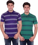 VENETIAN Striped Men's Polo Neck Purple,...