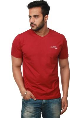 Amstead Solid Men's V-neck Red T-Shirt