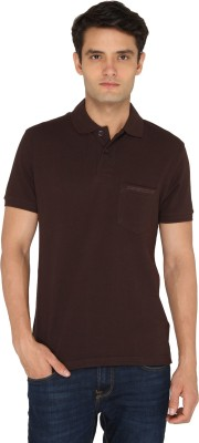 Chromozome Solid Men's Polo Neck Brown T-Shirt