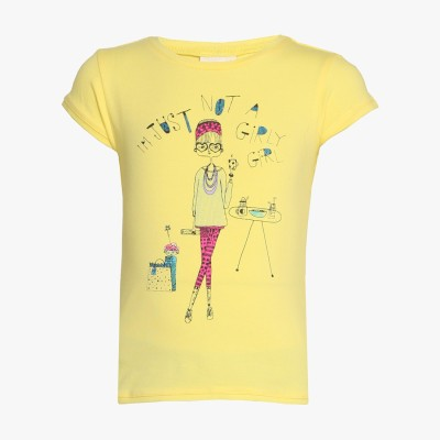 Tales & Stories Graphic Print Girl's Round Neck Yellow T-Shirt