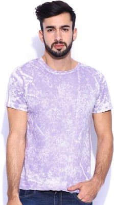 Le Bison Solid Men's Round Neck Purple T-Shirt