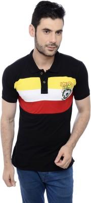 Triplegrass Embroidered Men's Flap Collar Neck Black T-Shirt