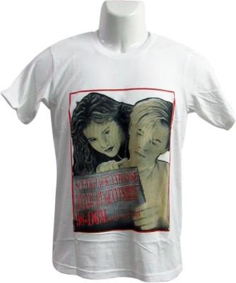Revinfashions Printed Men's Round Neck White T-Shirt