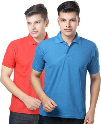 eSOUL Solid Men's Polo Neck Blue, Red T-Shirt