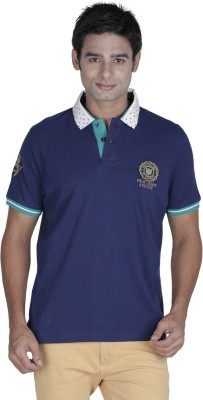 Prakum Solid Men's Polo Neck Blue T-Shirt