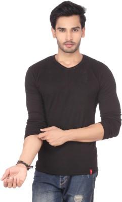 DXI Solid Men's V-neck Black T-Shirt