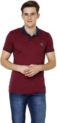 Crux&Hunter Striped Men's Polo Neck Red T-Shirt